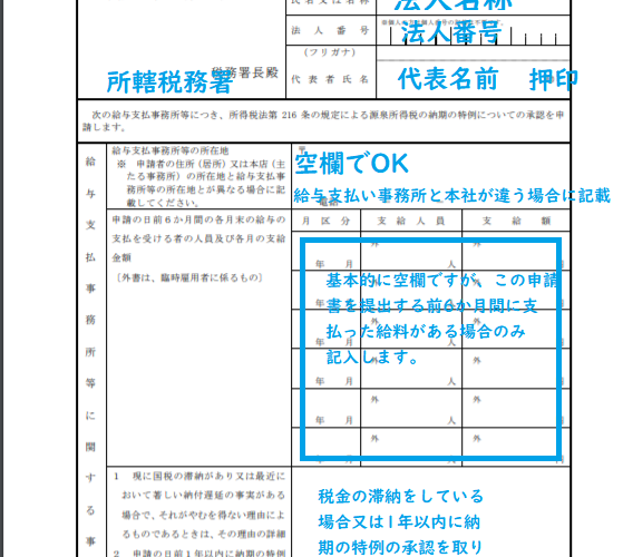 納期の特例申請書の書き方(源泉税)をわかりやすく解説【一人社長】